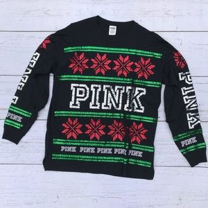 VS Pink Holiday Long Sleeve Tee
